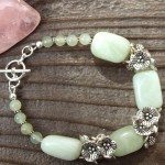 Sea Foam Jade and Flower Cluster Bracelet