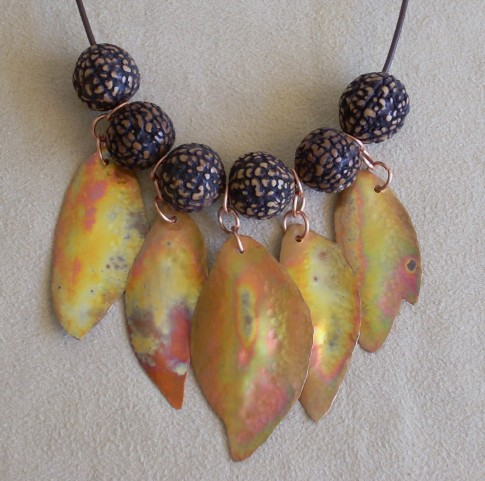 Hot Copper Leaves Necklace - Nancy Vaughan