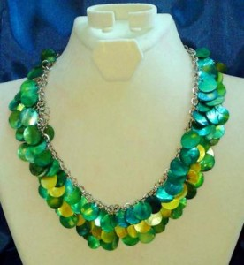 Green Leaves on a Velvet Necklace Display