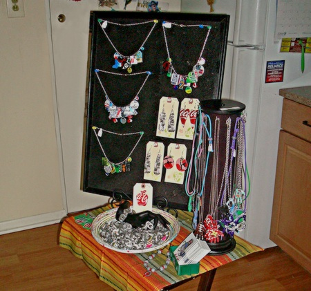 Jewelry display set up in a tiny space