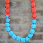 Tangerine and Turquoise Silk Statement Necklace