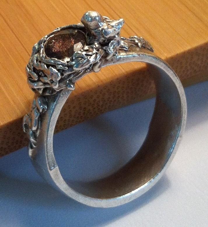 Art Clay Sculpted Bird Nest Ring