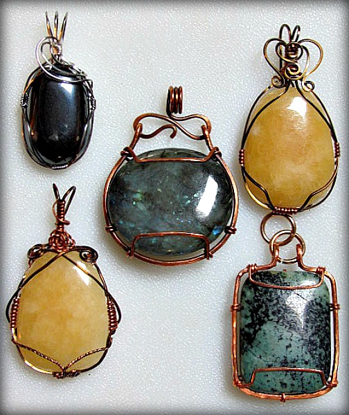 Practicing Wire Wrapping Cab Pendants