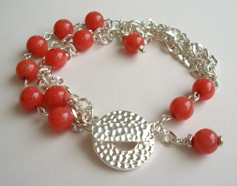 Chained Coral Bracelet