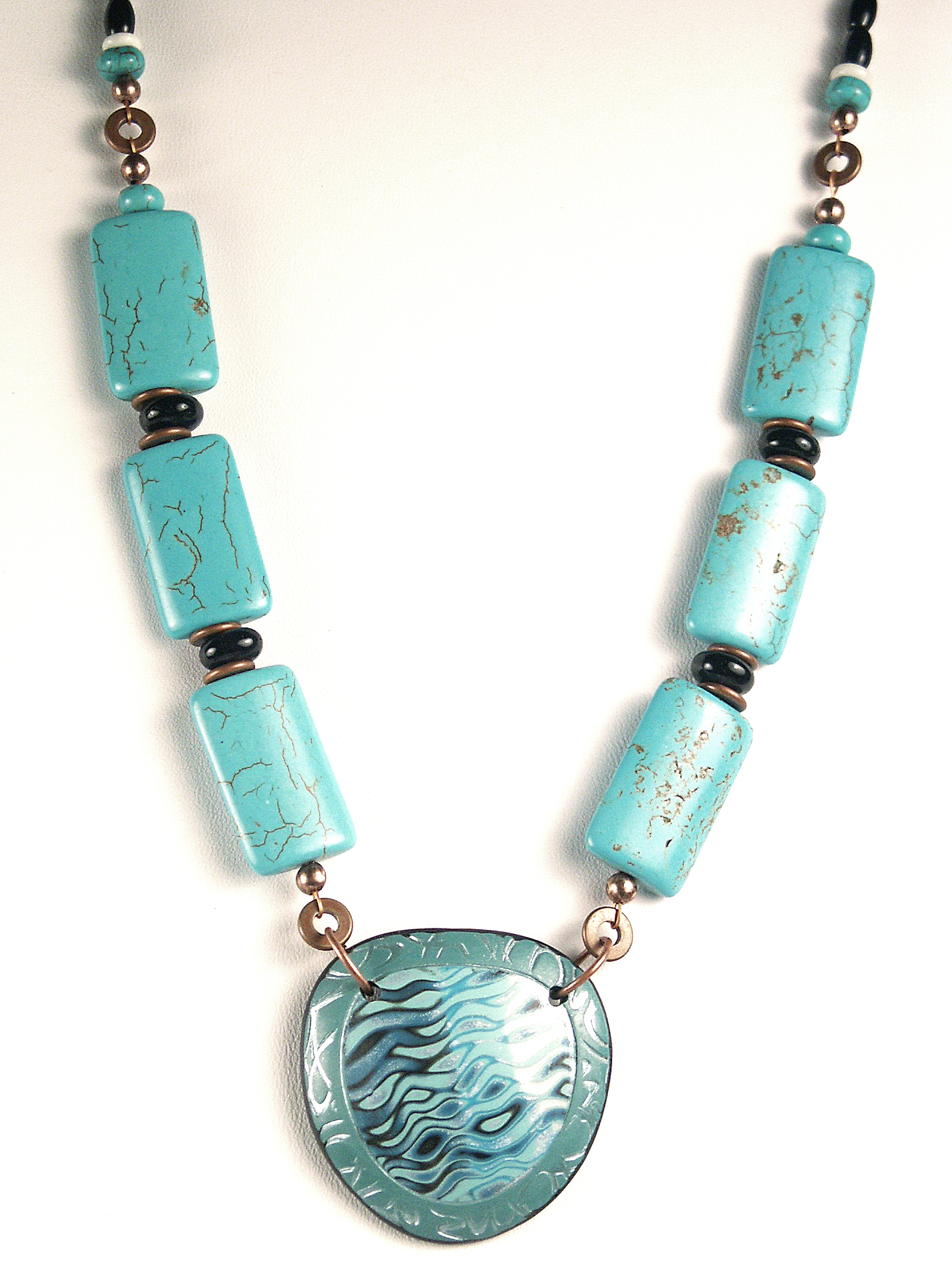 Mokume Gane: Turquoise Waves Necklace