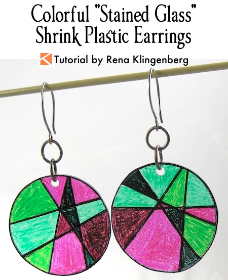 "Colorful ""Stained Glass"" Shrinky Earrings Tutorial by Rena Klingenberg"