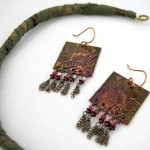 Fabric-wrapped neckwire and square copper earrings