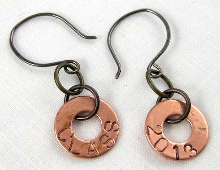 Grungy graduation year jewelry - earrings by Rena Klingenberg
