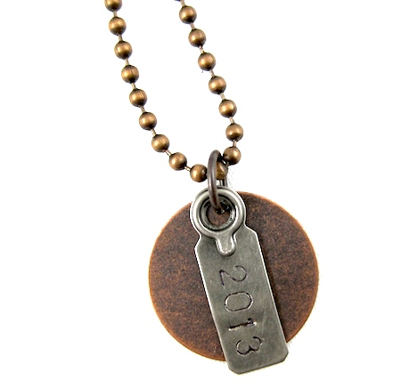 Rustic graduation year necklace by Rena Klingenberg