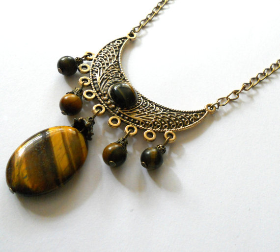 Tigers Eye Crescent Brass Necklace
