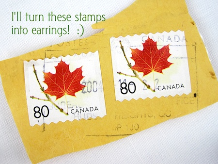 Canadian stamps - maple leaves - for making earrings