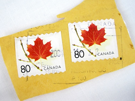 Canadian postage stamps for jewelry tutorial