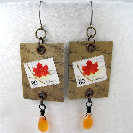 Postage stamp earrings by Rena Klingenberg