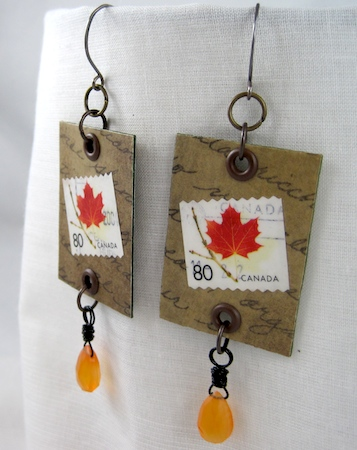 postage stamp jewelry - earrings