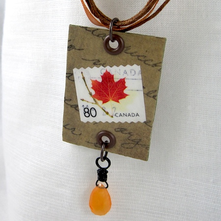 postage stamp jewelry - necklace