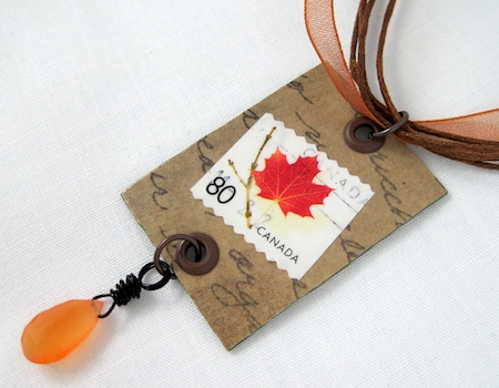 postage stamp jewelry tutorial by Rena Klingenberg