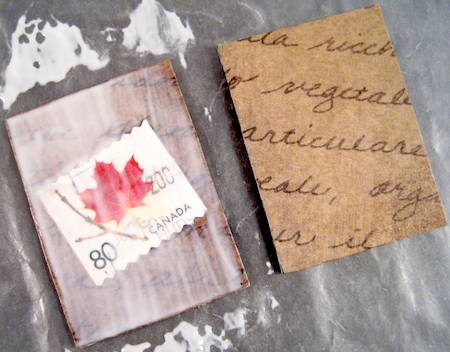 Mod Podge postage stamp jewelry