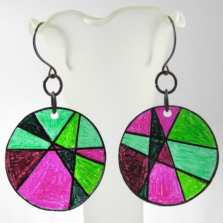 """stained glass"" shrinky earrings tutorial by Rena Klingenberg"