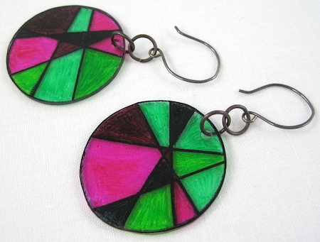 """stained glass"" shrink plastic earrings"