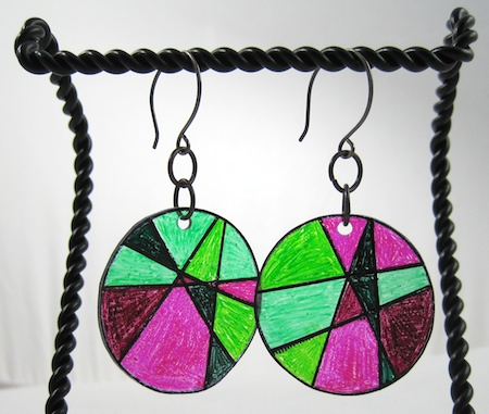 Stained glass shrink plastic earrings tutorial by Rena Klingenberg