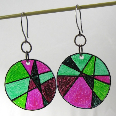 "Shrink plastic ""stained glass"" earrings by Rena Klingenberg"