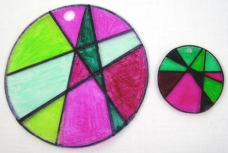 Stained glass shrink plastic, before and after baking