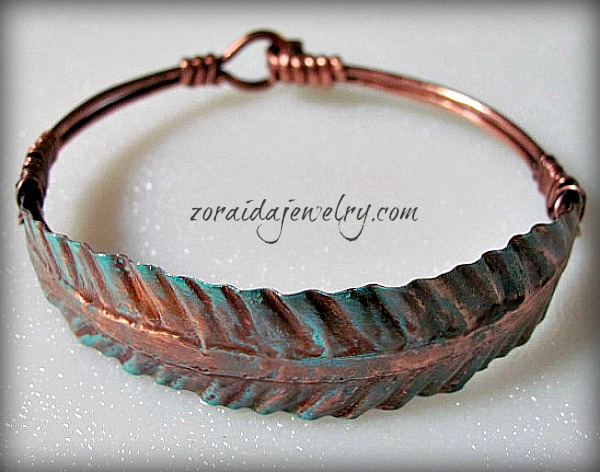 Copper Feather with Patina Cuff