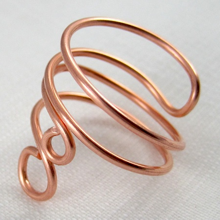 Copper folded wire ring by Rena Klingenberg