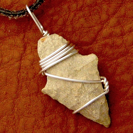 Arrowhead made 20 centuries ago; wirework by Rena Klingenberg