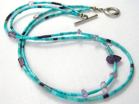 turquoise heishi necklace by Rena Klingenberg