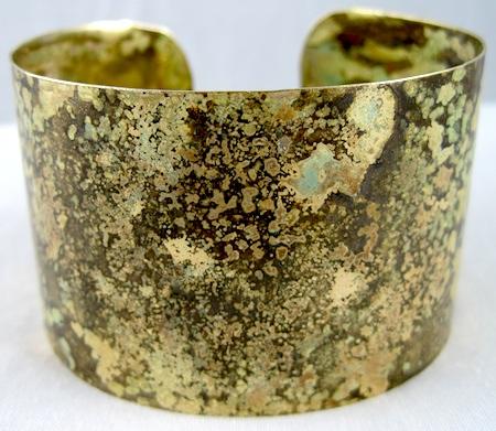 Brass rustic cuff bracelet by Rena Klingenberg