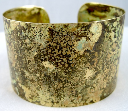 Brass rustic cuff bracelet with patina finish