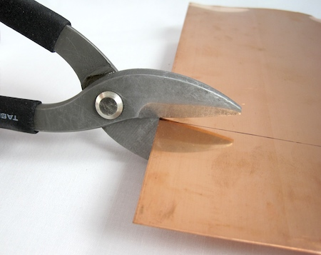 Cutting copper sheet with tin snips