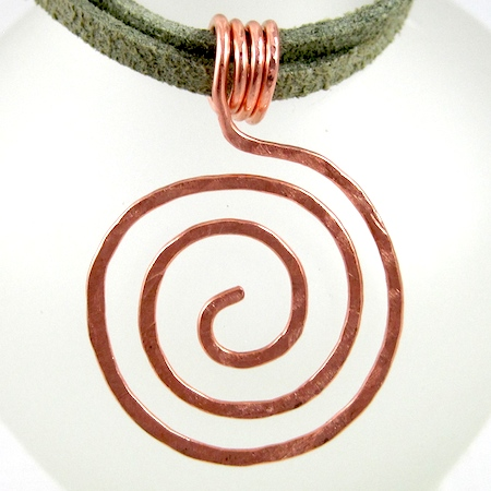 Zen Spiral Pendant in hammered copper wire, by Rena Klingenberg