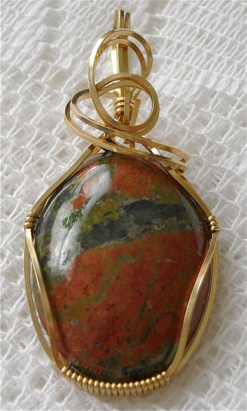 Red Green and Gold Unakite Pendant - Christa Leduc