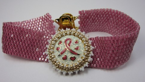 Pink Ribbon Peyote Bracelet