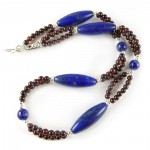 Lapis Lazuli and Garnet – Double and Single Strand Beading in the Same Necklace
