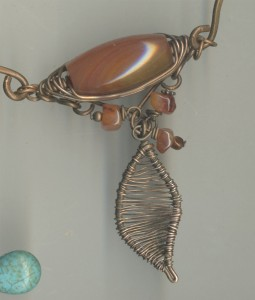 carnelian and wirework pendant