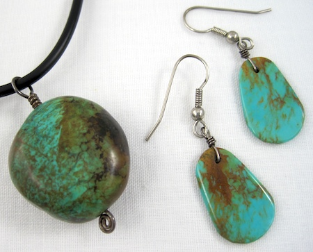 Jewelry and Coffee with Rena Klingenberg video - turquoise necklace and earrings