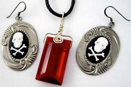 Skull Cameo Earrings and Blood Red Glass Pendant - Rena Klingenberg