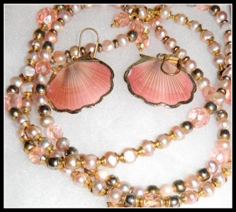 pink shells and pearls necklace
