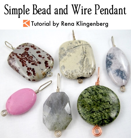 Simple Bead and Wire Pendant Tutorial by Rena Klingenberg