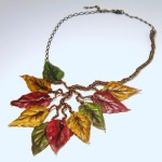Fall Leaves Polymer Clay Necklace - Debbie