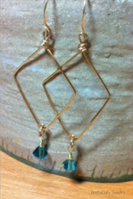Simple Wire and Crystal Earrings