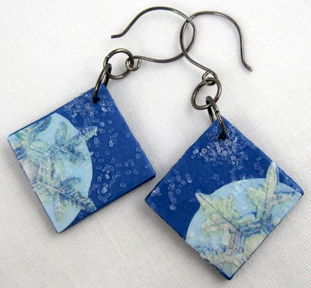 Christmas sticker earrings by Rena Klingenberg