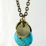Turquoise Howlite Brass Tag Pendant Necklace by Pamela DeWeese