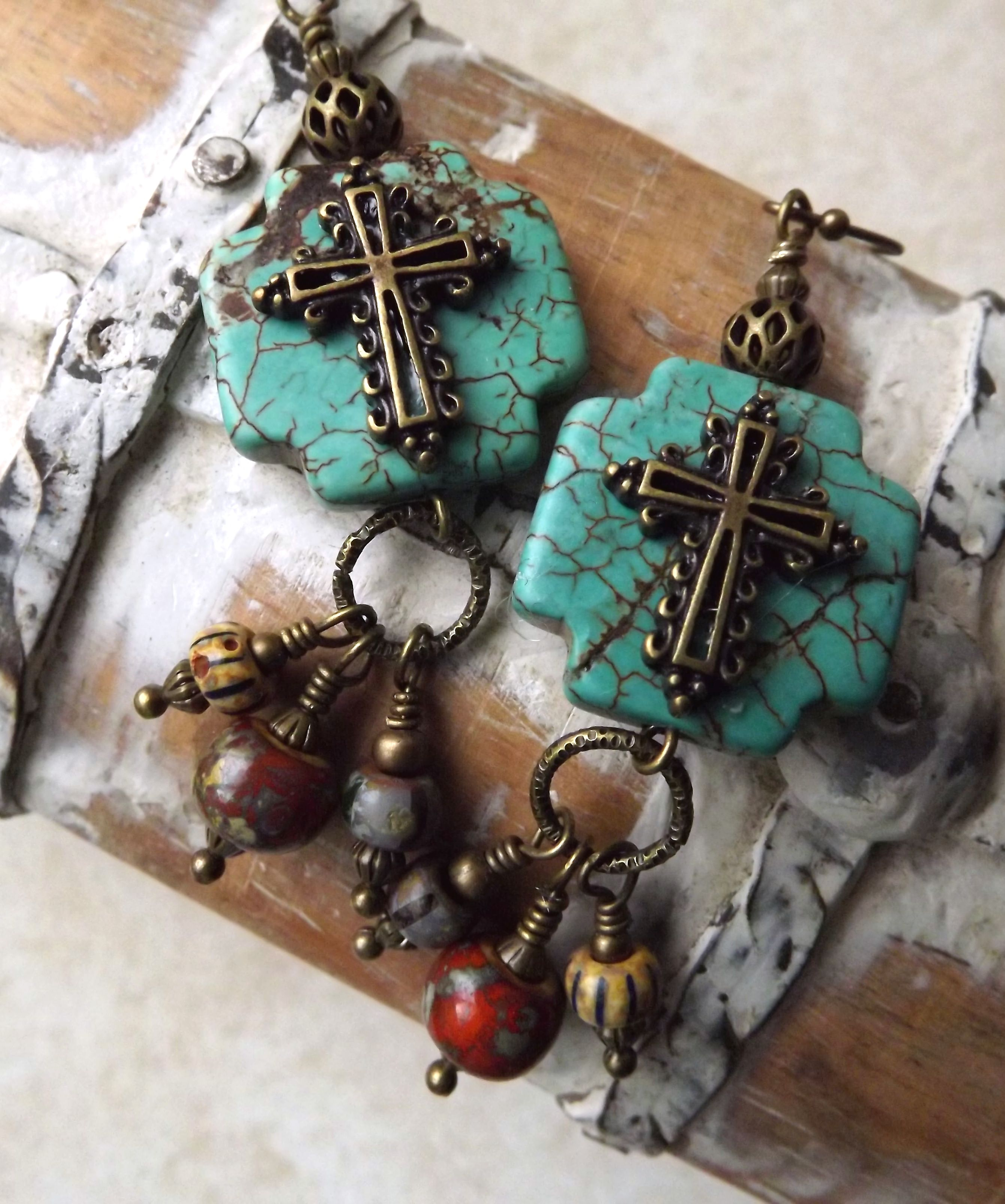 Magnesite Cross Earrings