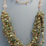 """Cool Greens of Summer"" - Moss Agate Chips and Crocheted Wire"