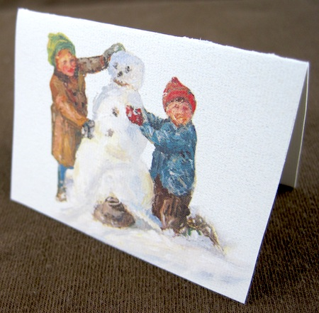 picture cut from Christmas card and turned into small folded gift tag