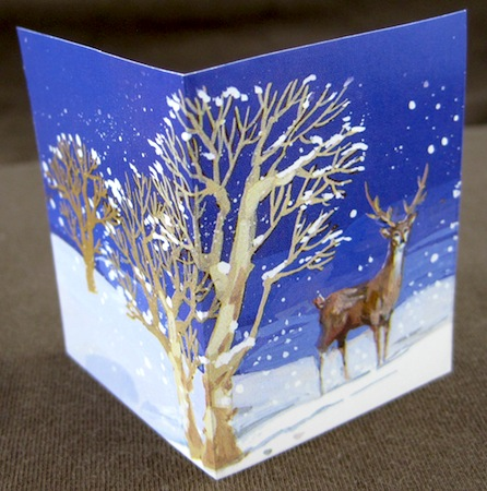 small folded gift card, cut out from a Christmas card picture